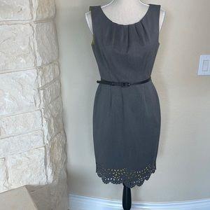 Beautiful Knee Length Belted Gray sheath dress